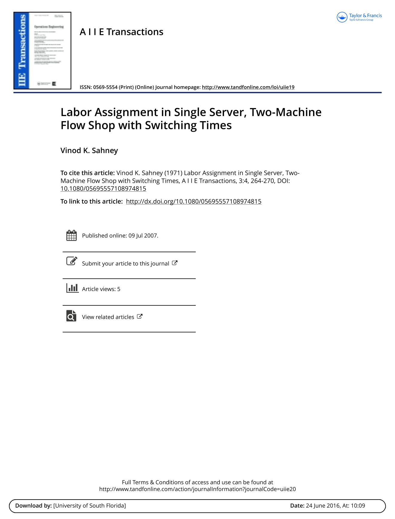 Book cover Labor Assignment in Single Server, Two-Machine Flow Shop with Switching Times