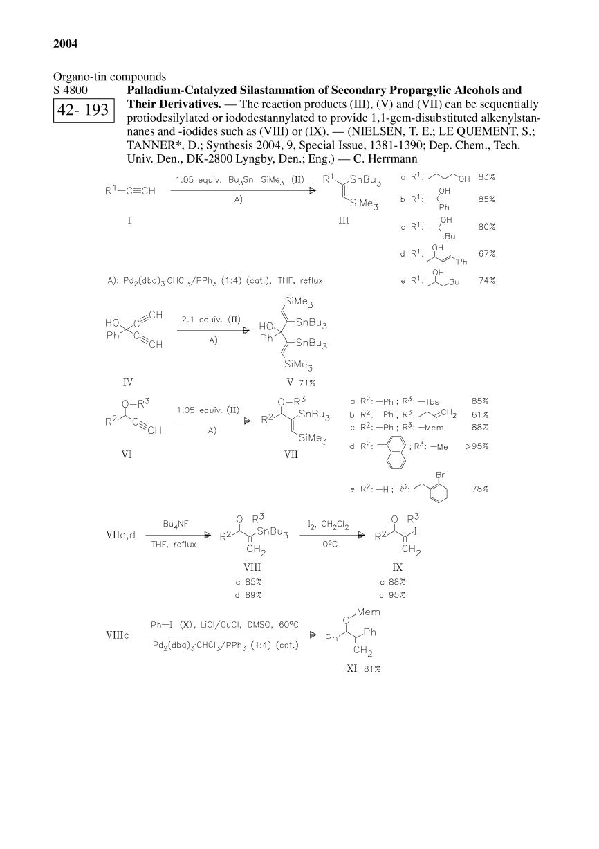 Book cover Palladium-Catalyzed Silastannation of Secondary Propargylic Alcohols and Their Derivatives.<span></span>