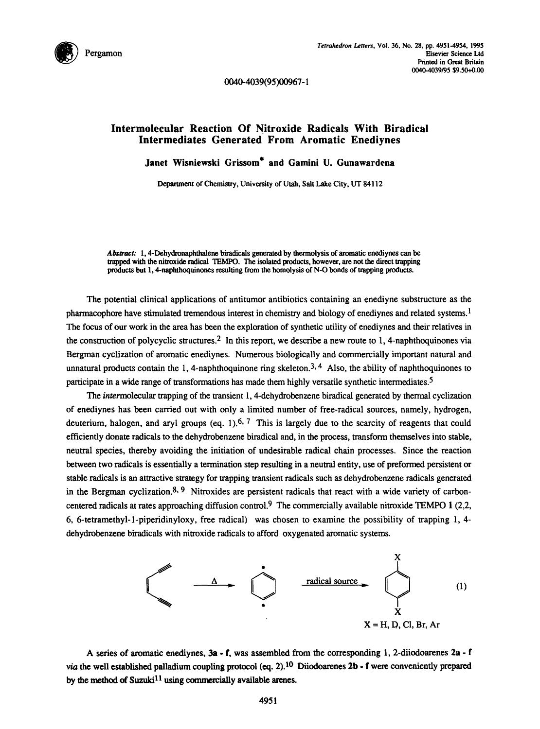 書籍の表紙 Intermolecular reaction of nitroxide radicals with biradical intermediates generated from aromatic enediynes