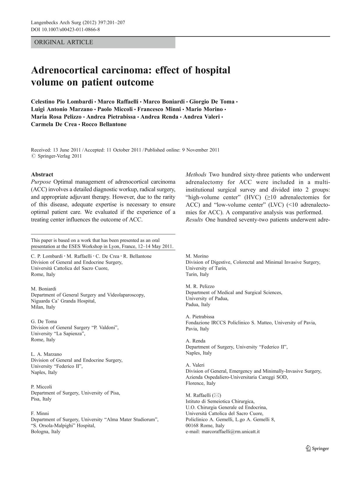 A capa do livro Adrenocortical carcinoma: effect of hospital volume on patient outcome