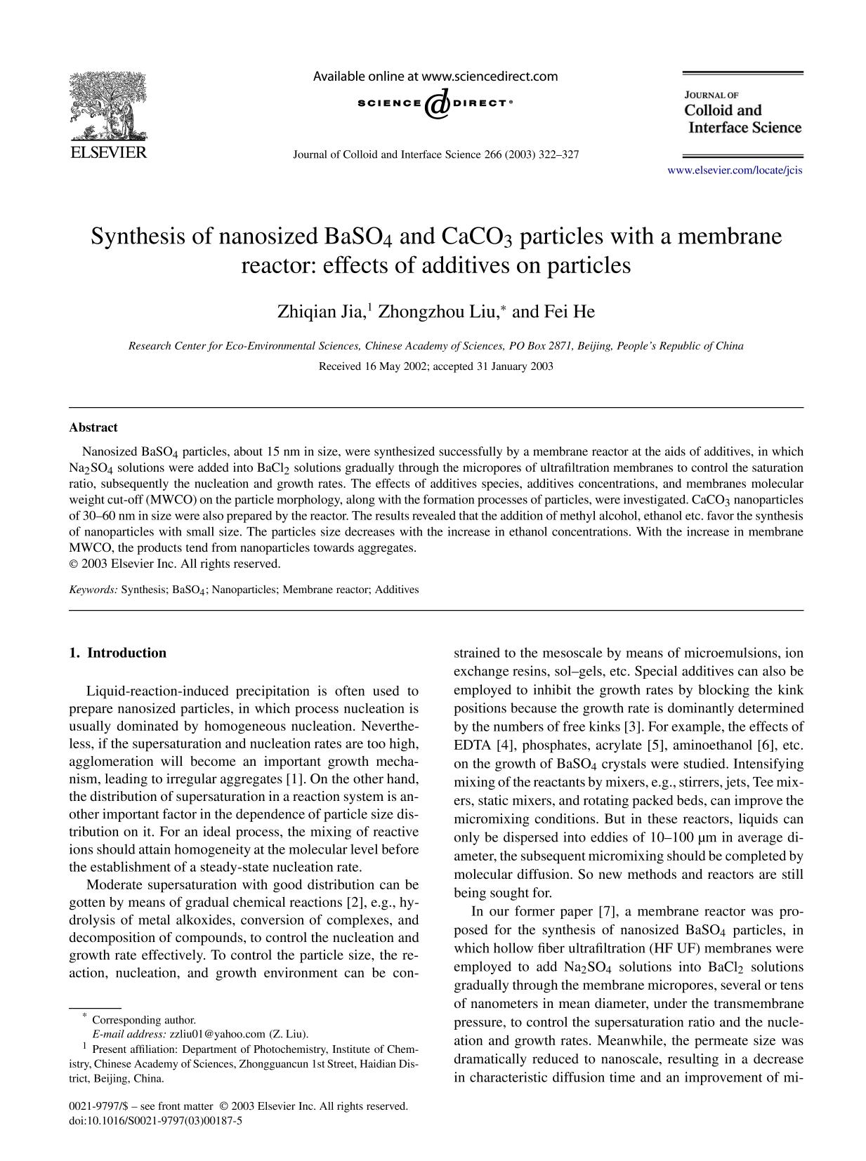 Okładka książki Synthesis of nanosized BaSO4 and CaCO3 particles with a membrane reactor: effects of additives on particles