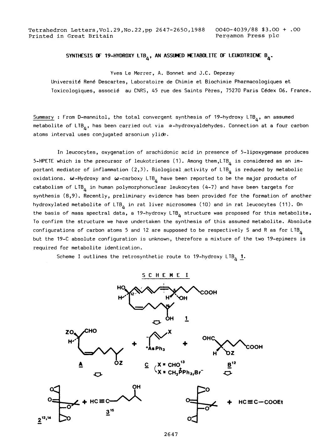 หน้าปก Synthesis of 19-hydroxy LTB4, an assumed metabolite of leukotriene B4