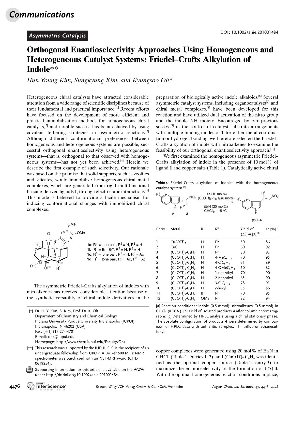 Copertina del libro Orthogonal Enantioselectivity Approaches Using Homogeneous and Heterogeneous Catalyst Systems: Friedel–Crafts Alkylation of Indole