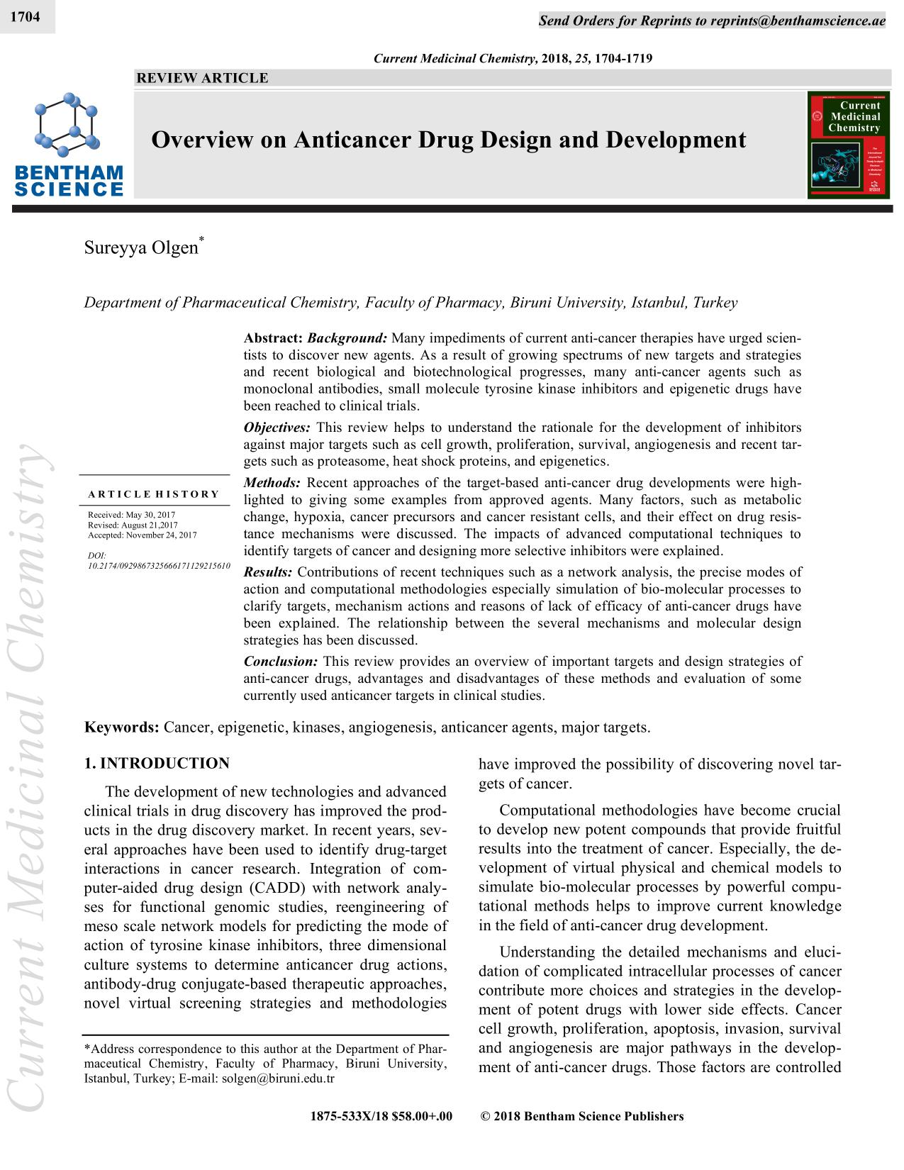 Copertina del libro Overview on Anticancer Drug Design and Development
