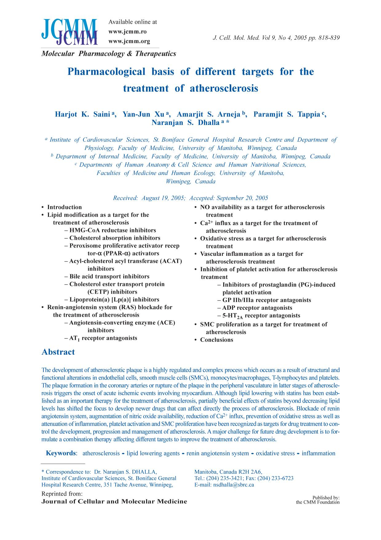 Обложка книги Pharmacological basis of different targets for the treatment of atherosclerosis