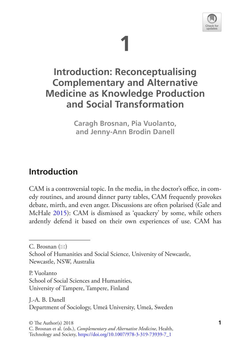 capa de livro Complementary and Alternative Medicine || Introduction: Reconceptualising Complementary and Alternative Medicine as Knowledge Production and Social Transformation