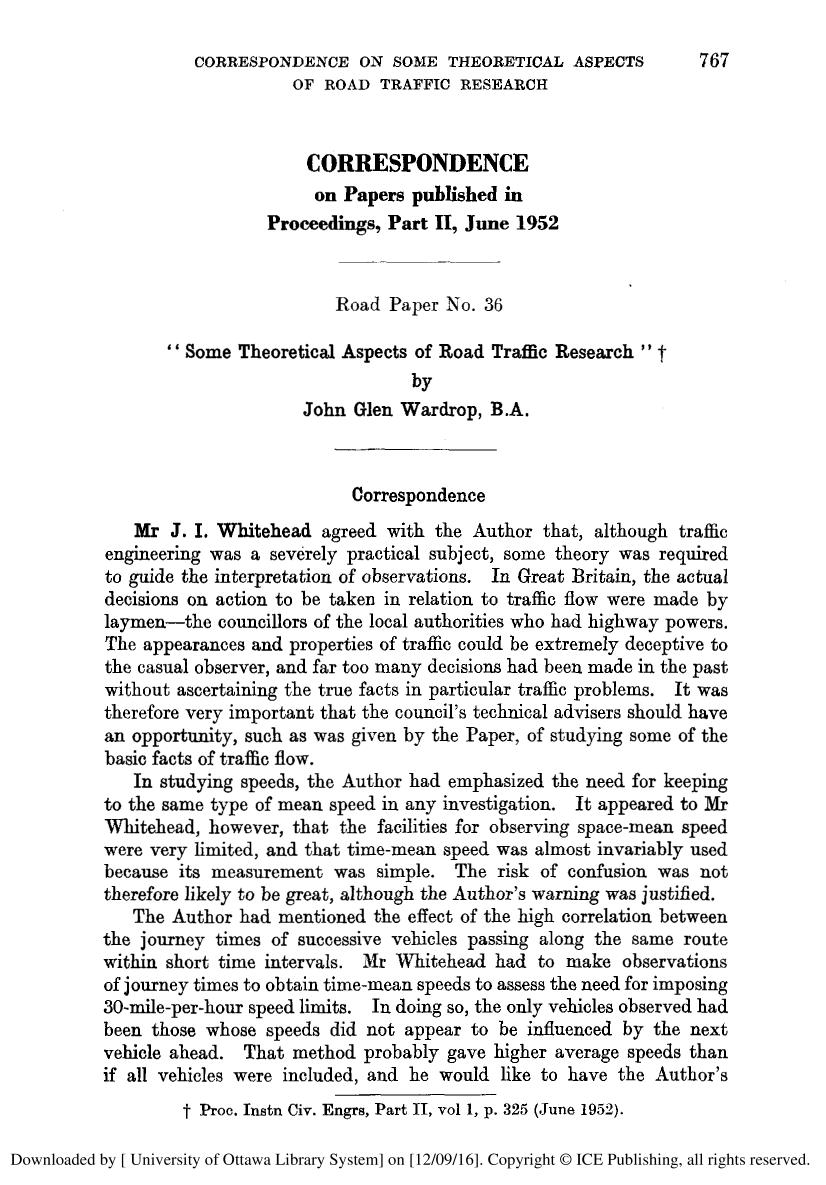Buchcover CORRESPONDENCE. SOME THEORETICAL ASPECTS OF ROAD TRAFFIC RESEARCH.