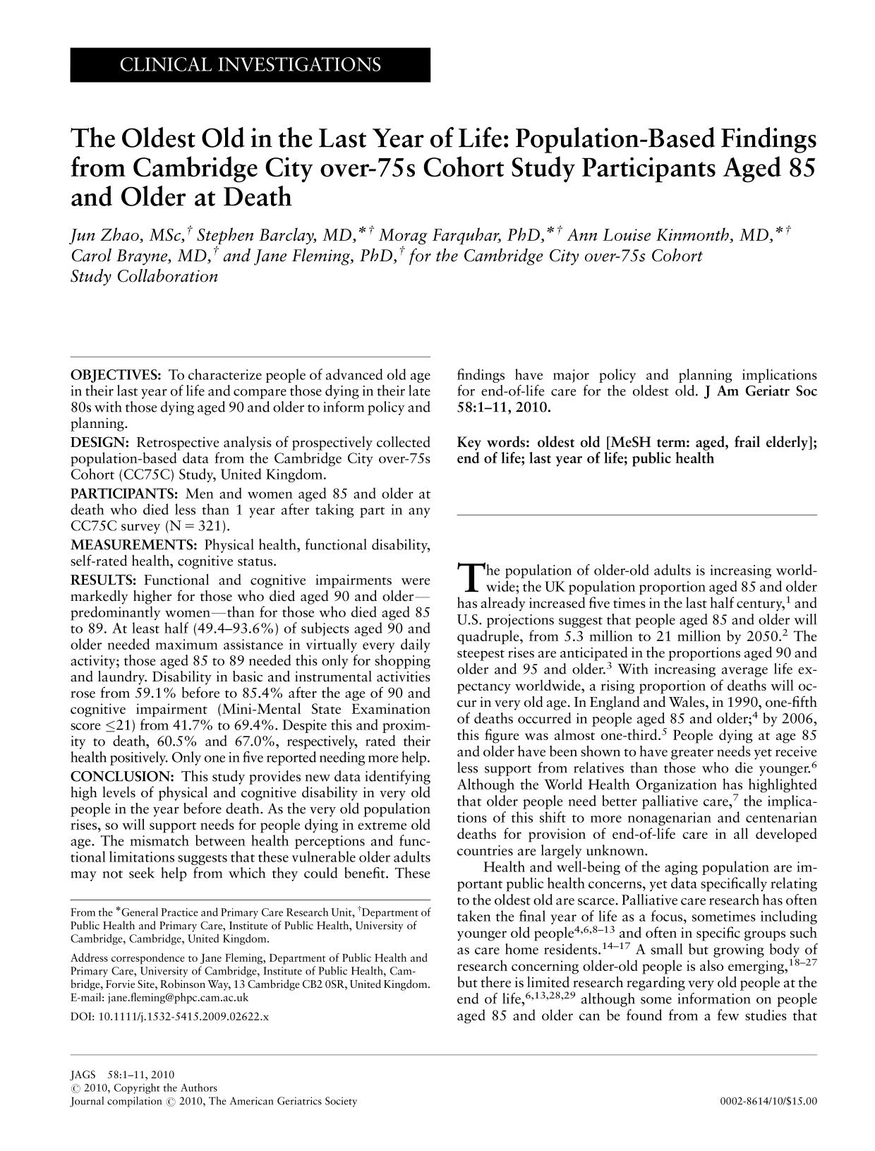 capa de livro The Oldest Old in the Last Year of Life: Population-Based Findings from Cambridge City over-75s Cohort Study Participants Aged 85 and Older at Death