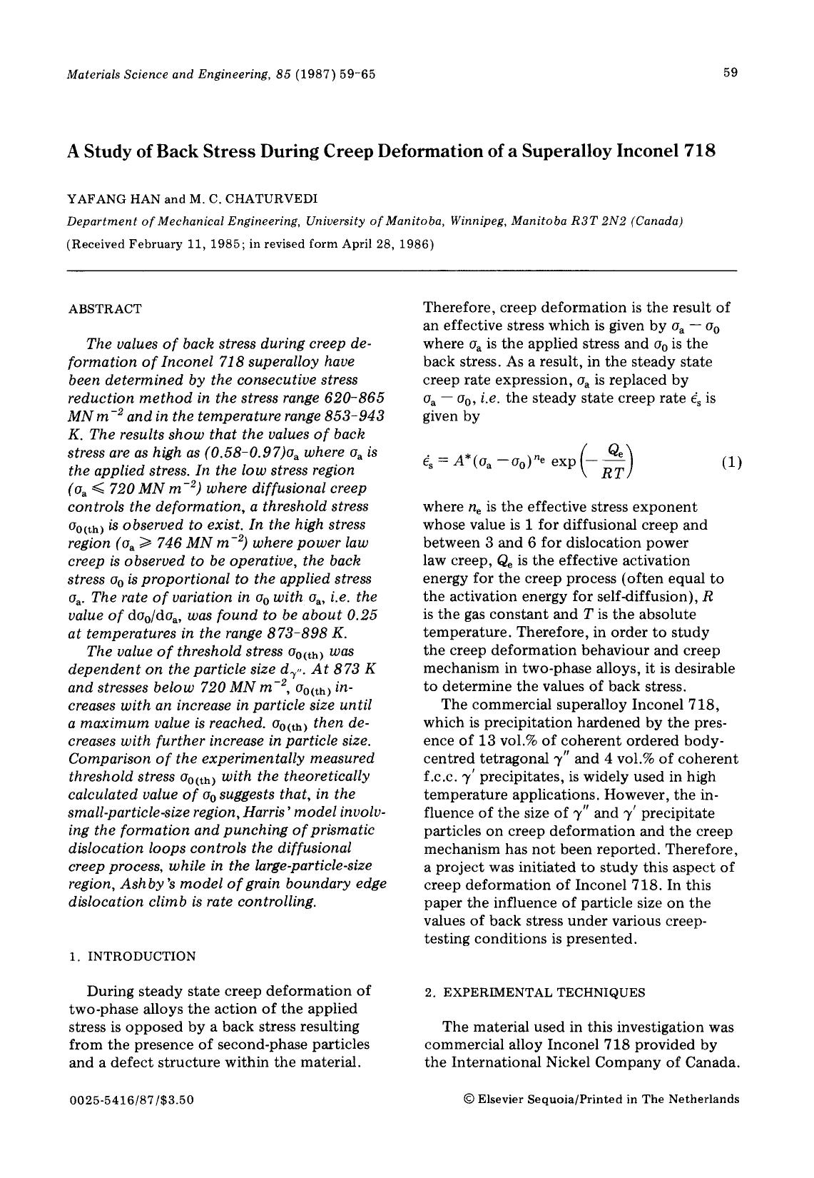 Обкладинка книги A study of back stress during creep deformation of a superalloy inconel 718