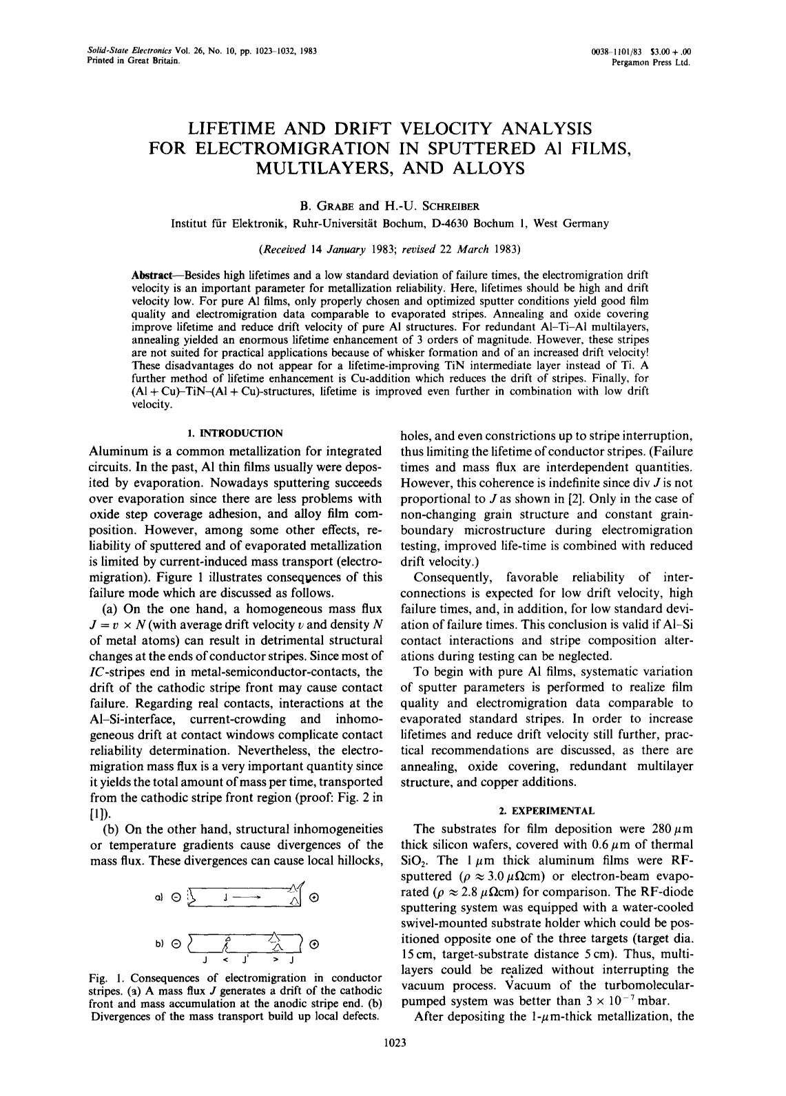 Portada del libro Lifetime and drift velocity analysis for electromigration in sputtered Al films, multilayers, and alloys