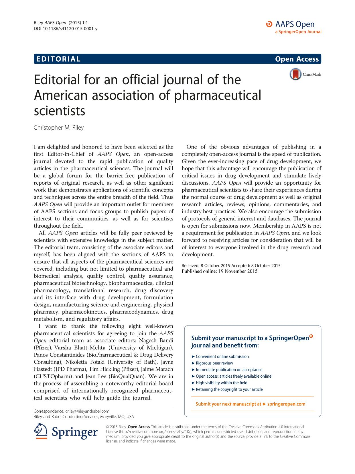 Okładka książki Editorial for an official journal of the American association of pharmaceutical scientists