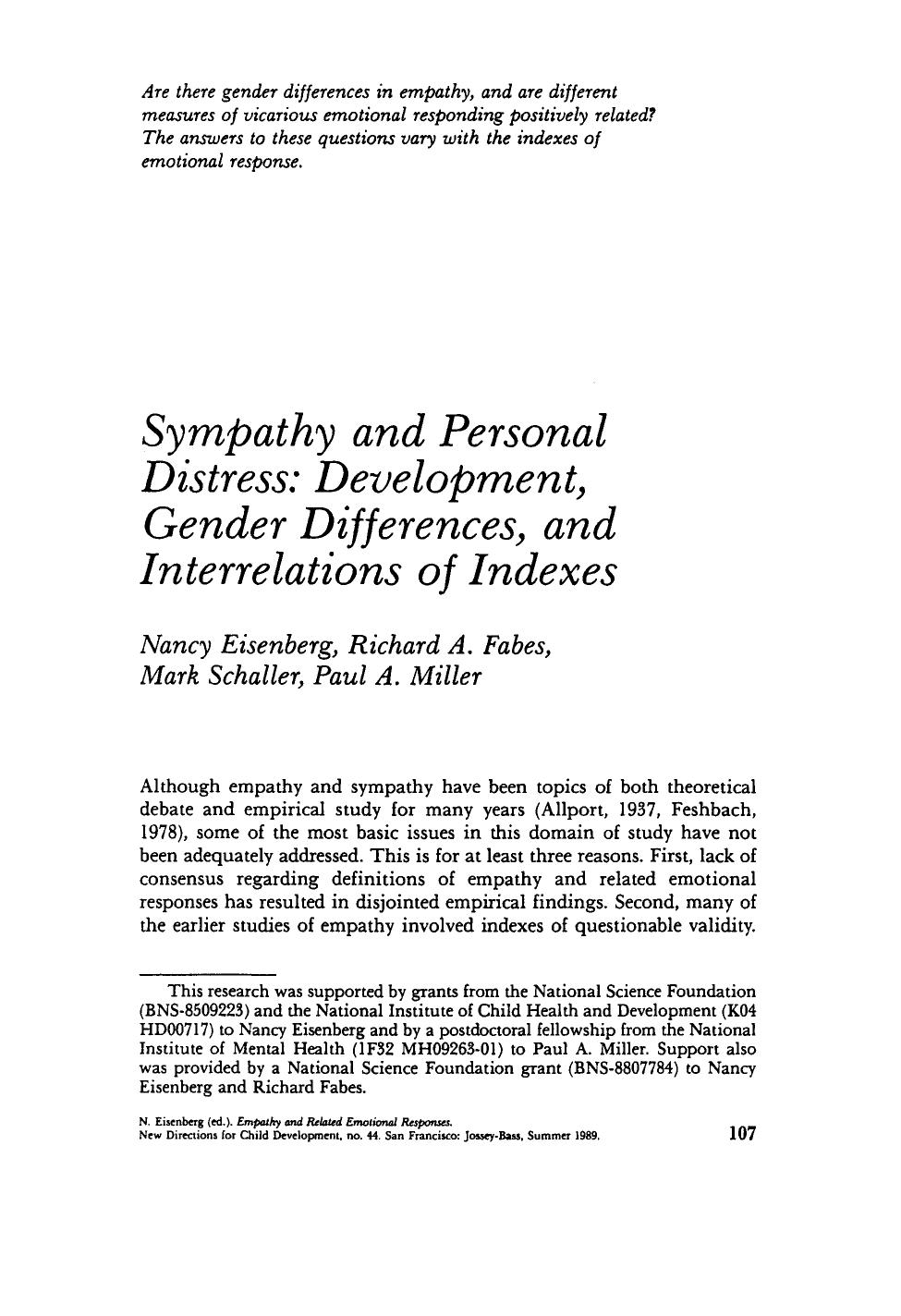 表紙 Sympathy and personal distress: Development, gender differences, and interrelations of indexes