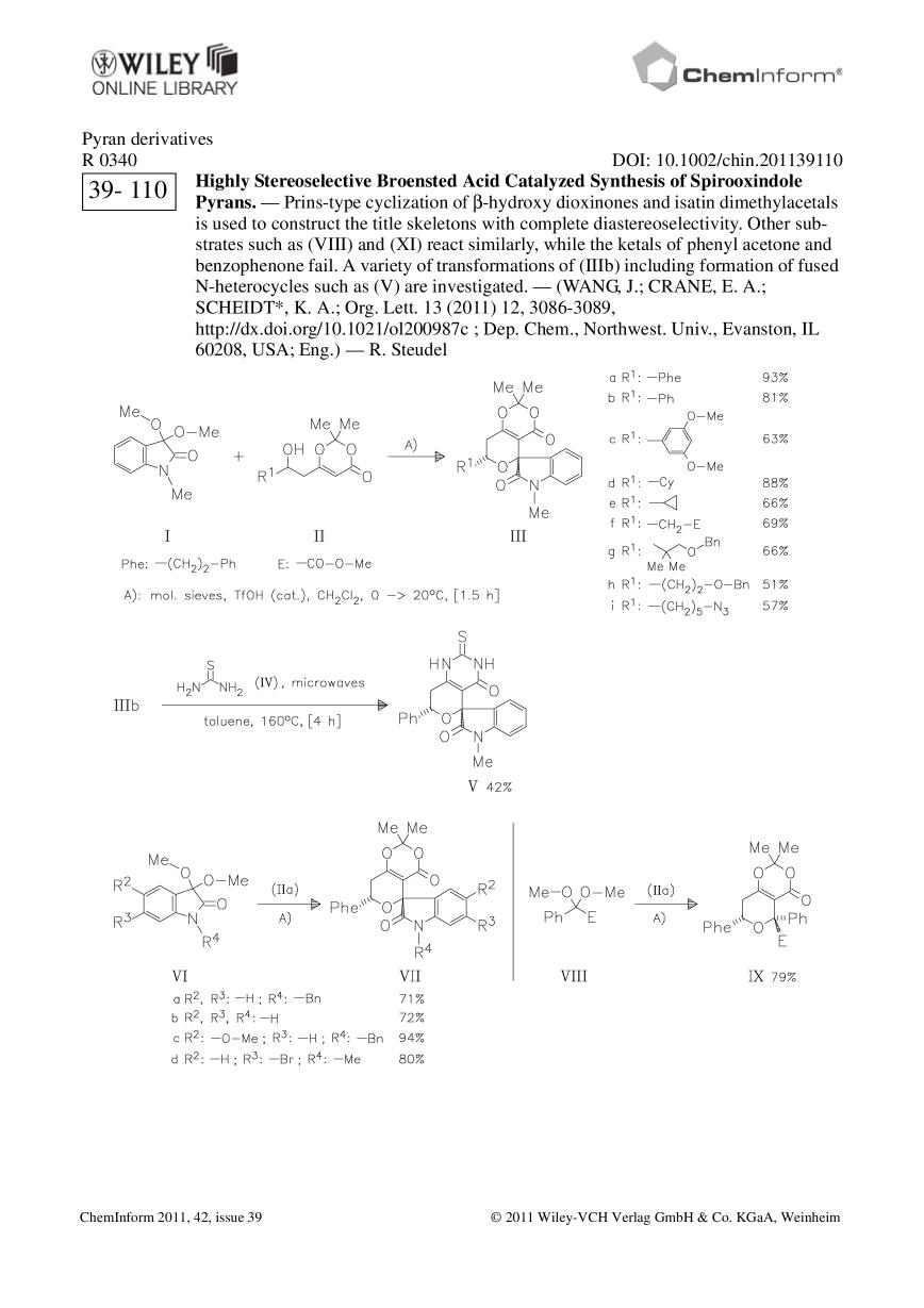 Okładka książki ChemInform Abstract: Highly Stereoselective Broensted Acid Catalyzed Synthesis of Spirooxindole Pyrans.<span></span>