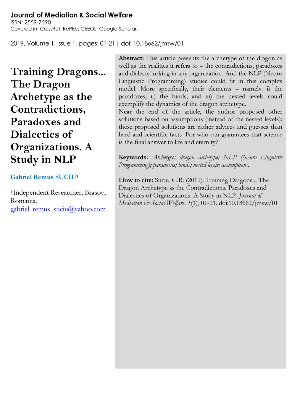 Book cover Training dragons. The dragon archetype as the contradictions, paradoxes and dialectics of organizations. A study in NLP