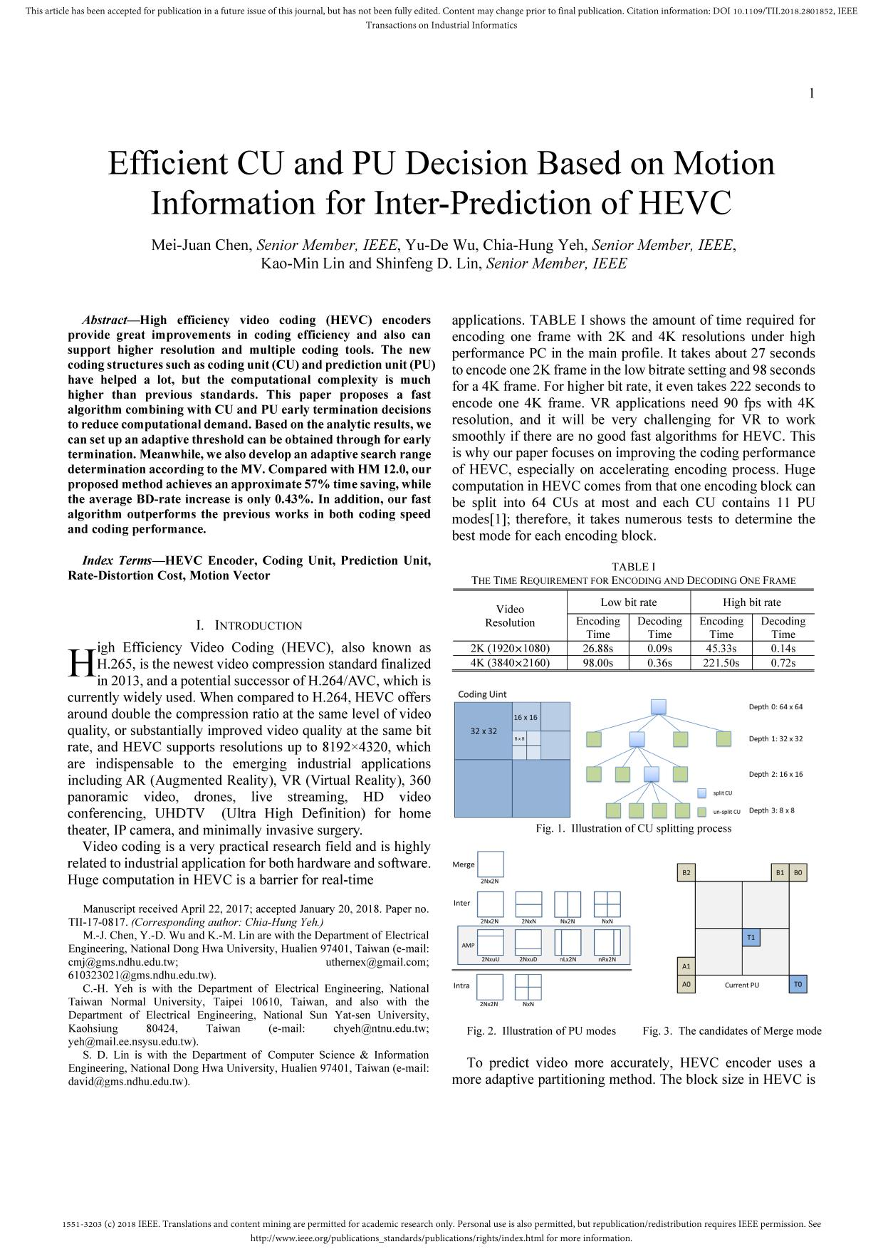 Portada del libro Efficient CU and PU Decision Based on Motion Information for Inter-Prediction of HEVC