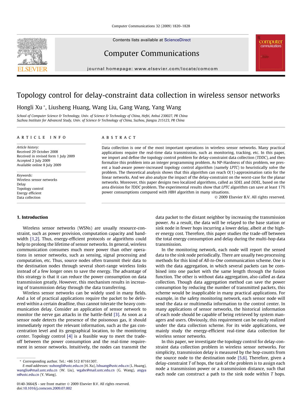 Portada del libro Topology control for delay-constraint data collection in wireless sensor networks