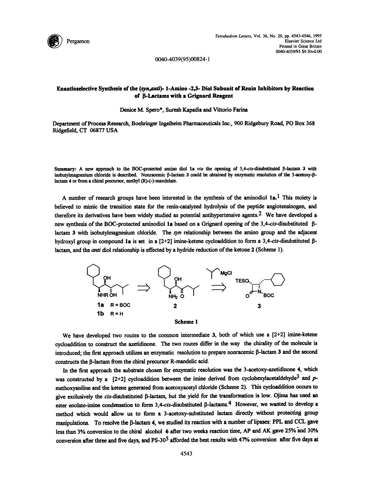 书籍封面 Enantioselective synthesis of the (syn,anti)-1-amino-2,3-diol subunit of renin inhibitors by reaction of β-Lactams with a Grignard reagent