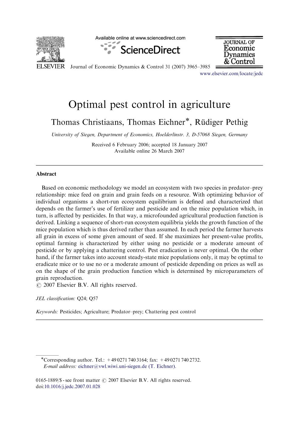 Обложка книги Optimal pest control in agriculture