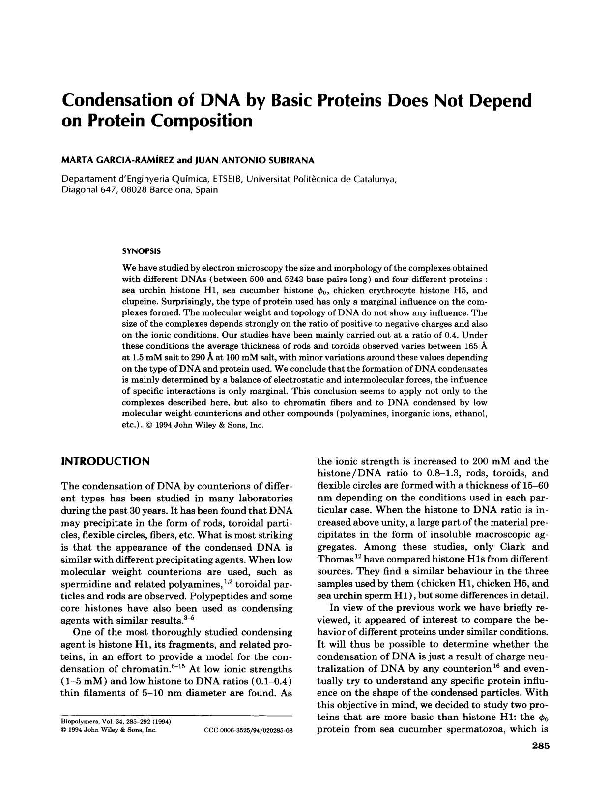 Sampul buku Condensation of DNA by basic protiens does not depend on protien composition