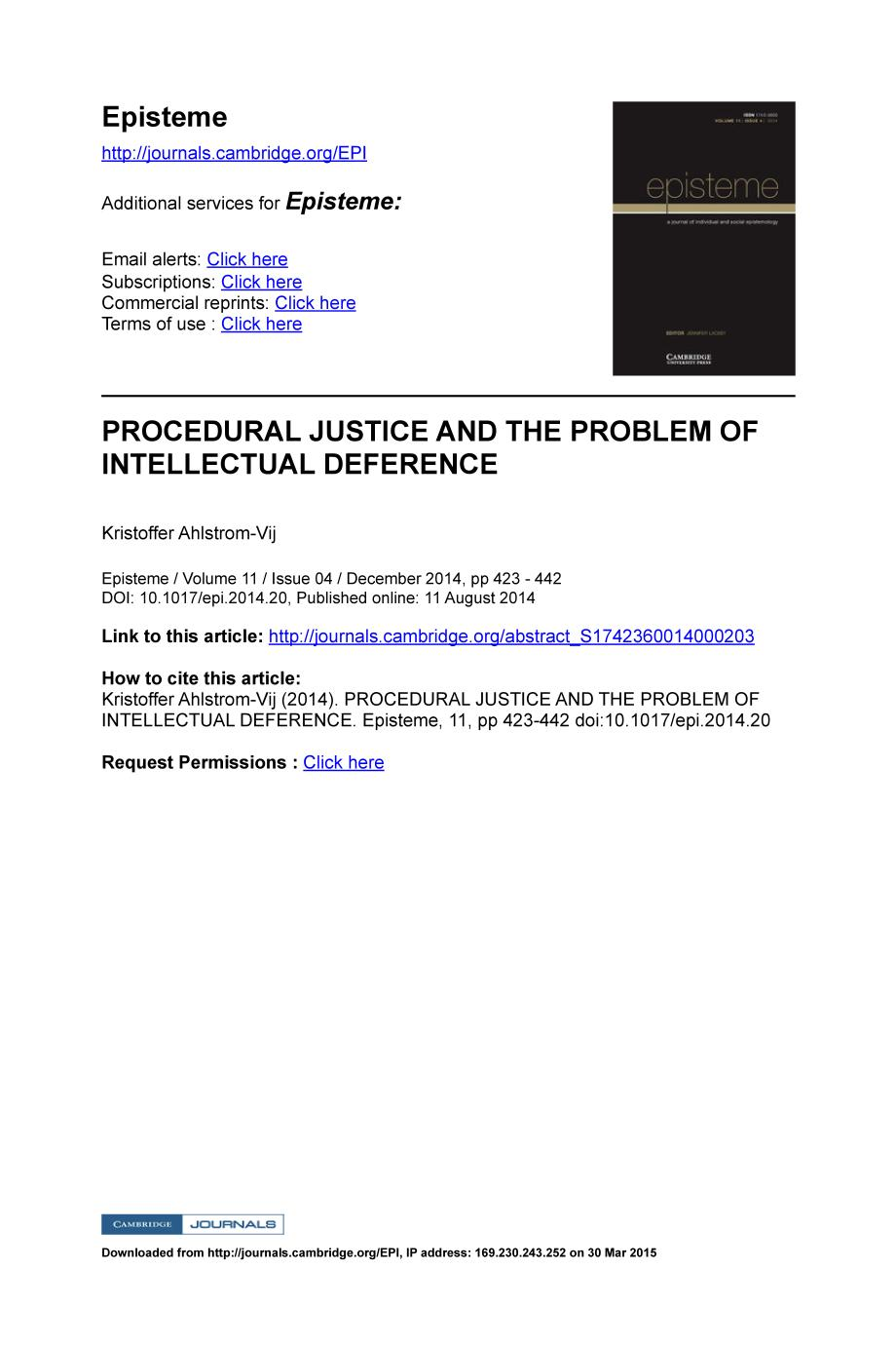 Book cover PROCEDURAL JUSTICE AND THE PROBLEM OF INTELLECTUAL DEFERENCE