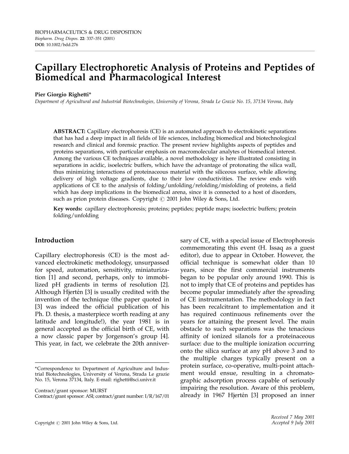 Book cover Capillary electrophoretic analysis of proteins and peptides of biomedical and pharmacological interest
