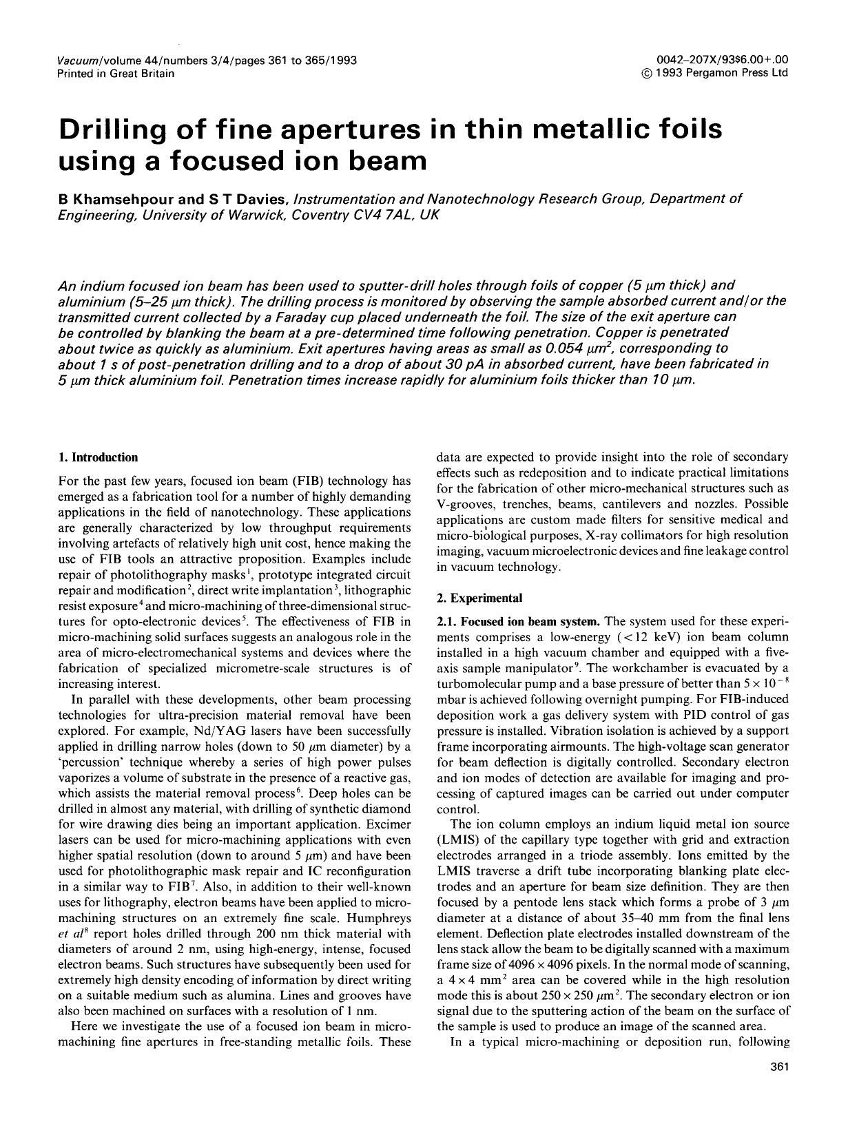 पुस्तक कवर Drilling of fine apertures in thin metallic foils using a focused ion beam