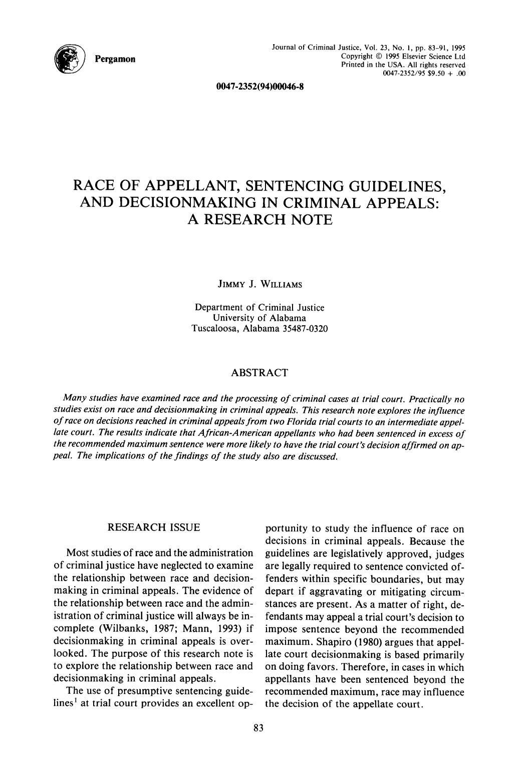 पुस्तक कवर Race of appellant, sentencing guidelines, and decisionmaking in criminal appeals: A research note
