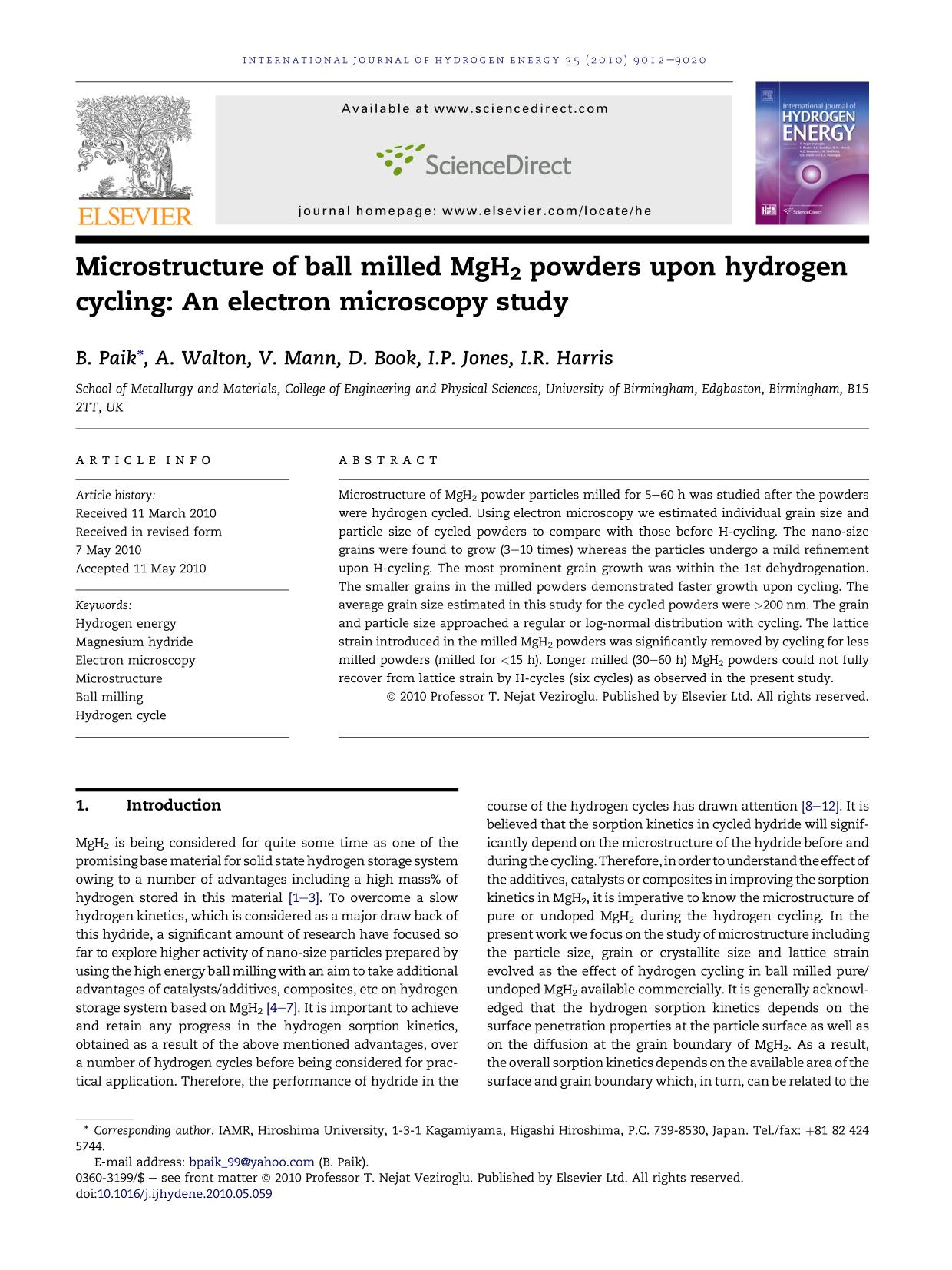 ปกหนังสือ Microstructure of ball milled MgH2 powders upon hydrogen cycling: An electron microscopy study