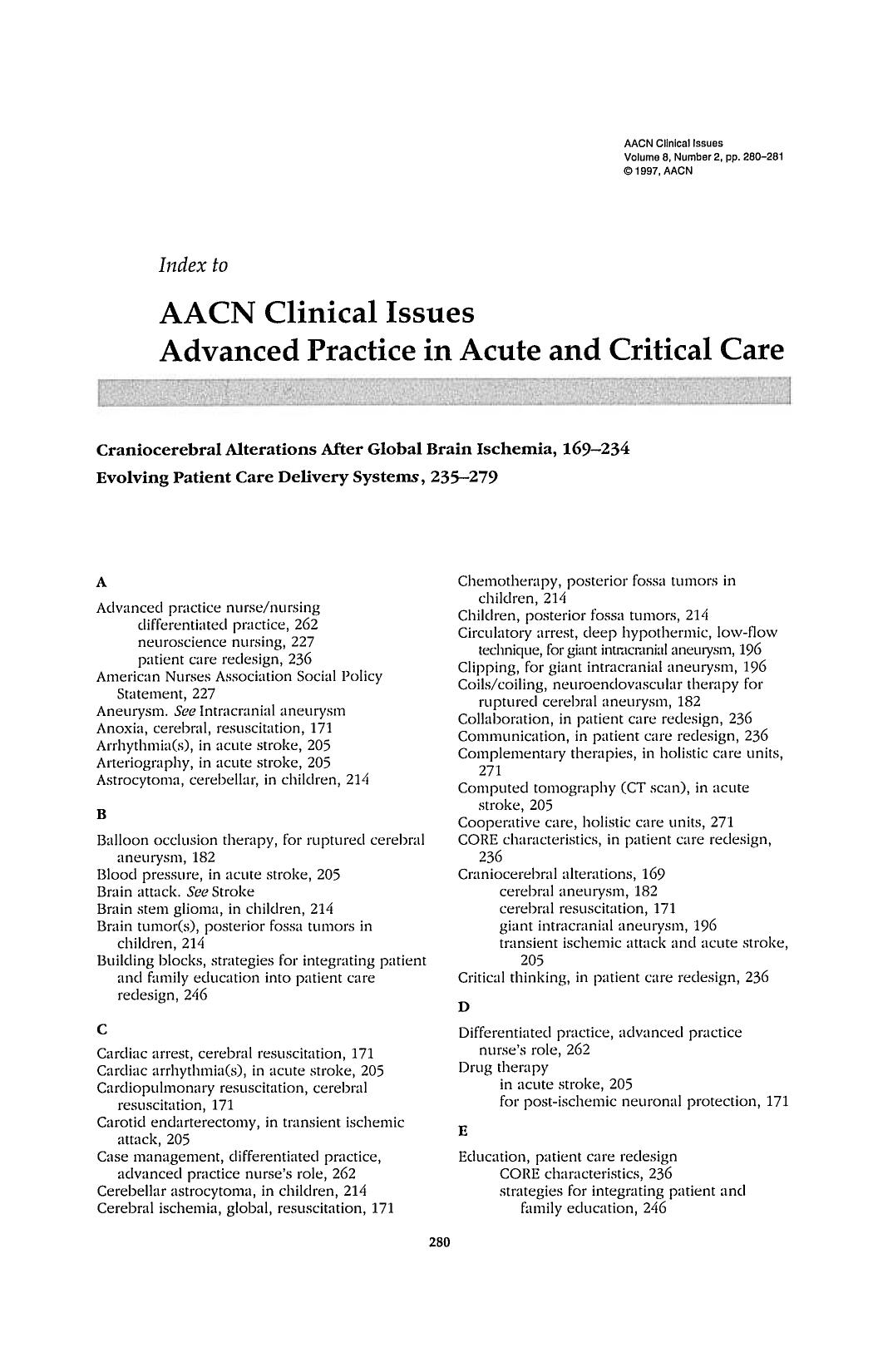 Couverture AACN Clinical Issues Advanced Practice in Acute and Critical Care