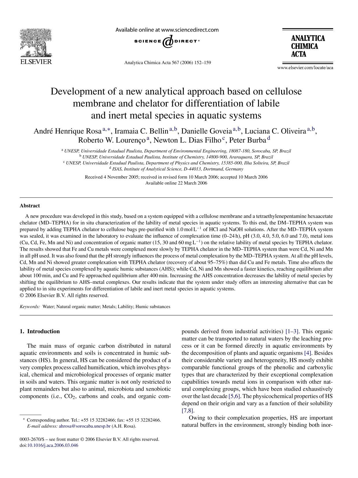 पुस्तक कवर Development of a new analytical approach based on cellulose membrane and chelator for differentiation of labile and inert metal species in aquatic systems