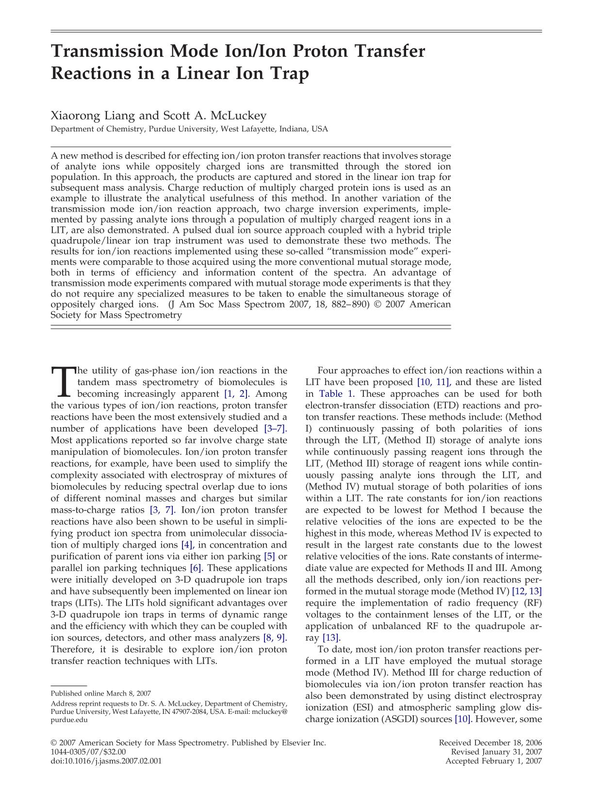 หน้าปก Transmission Mode Ion/Ion Proton Transfer Reactions in a Linear Ion Trap