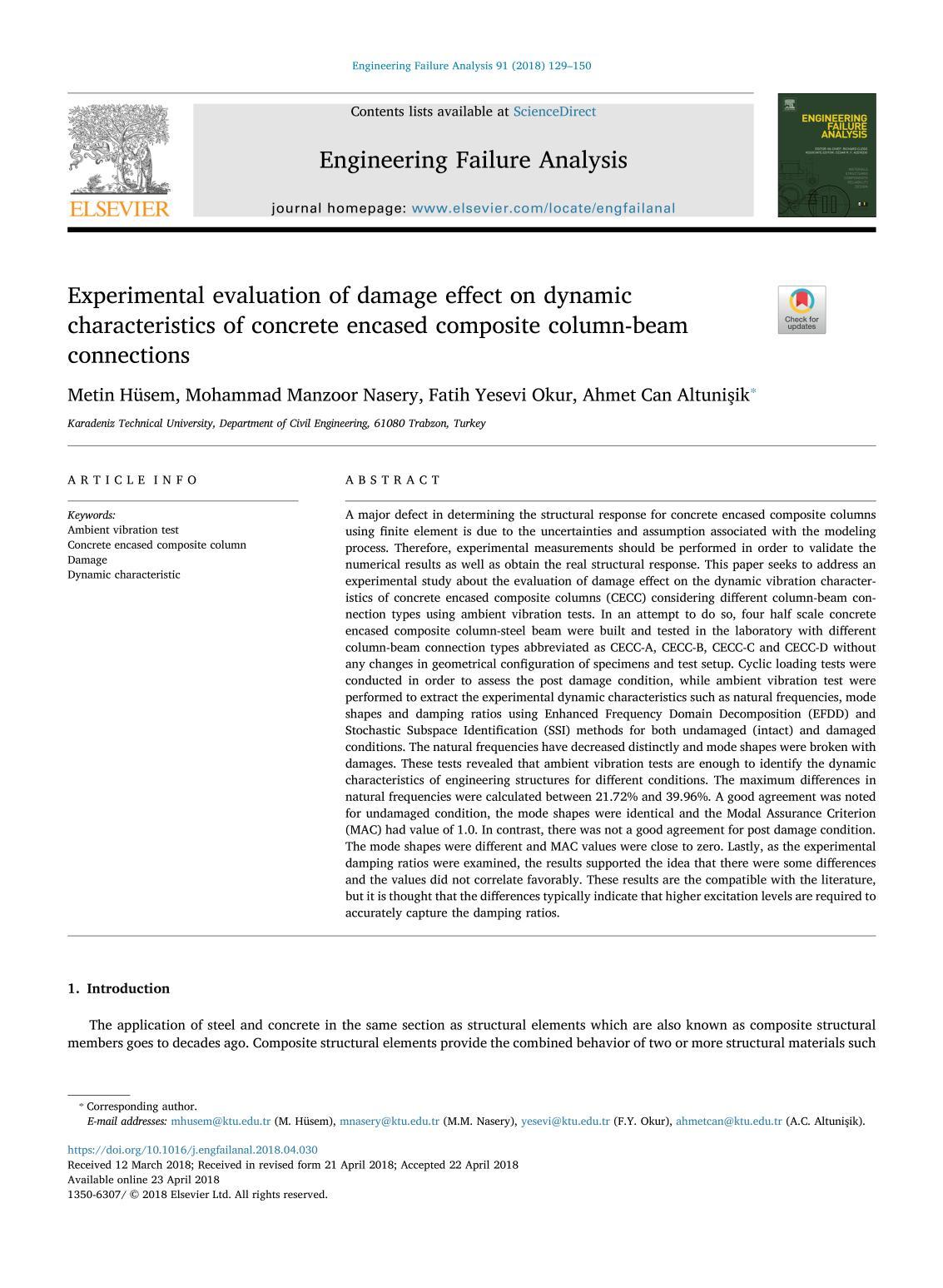 Book cover Experimental evaluation of damage effect on dynamic characteristics of concrete encased composite column-beam connections