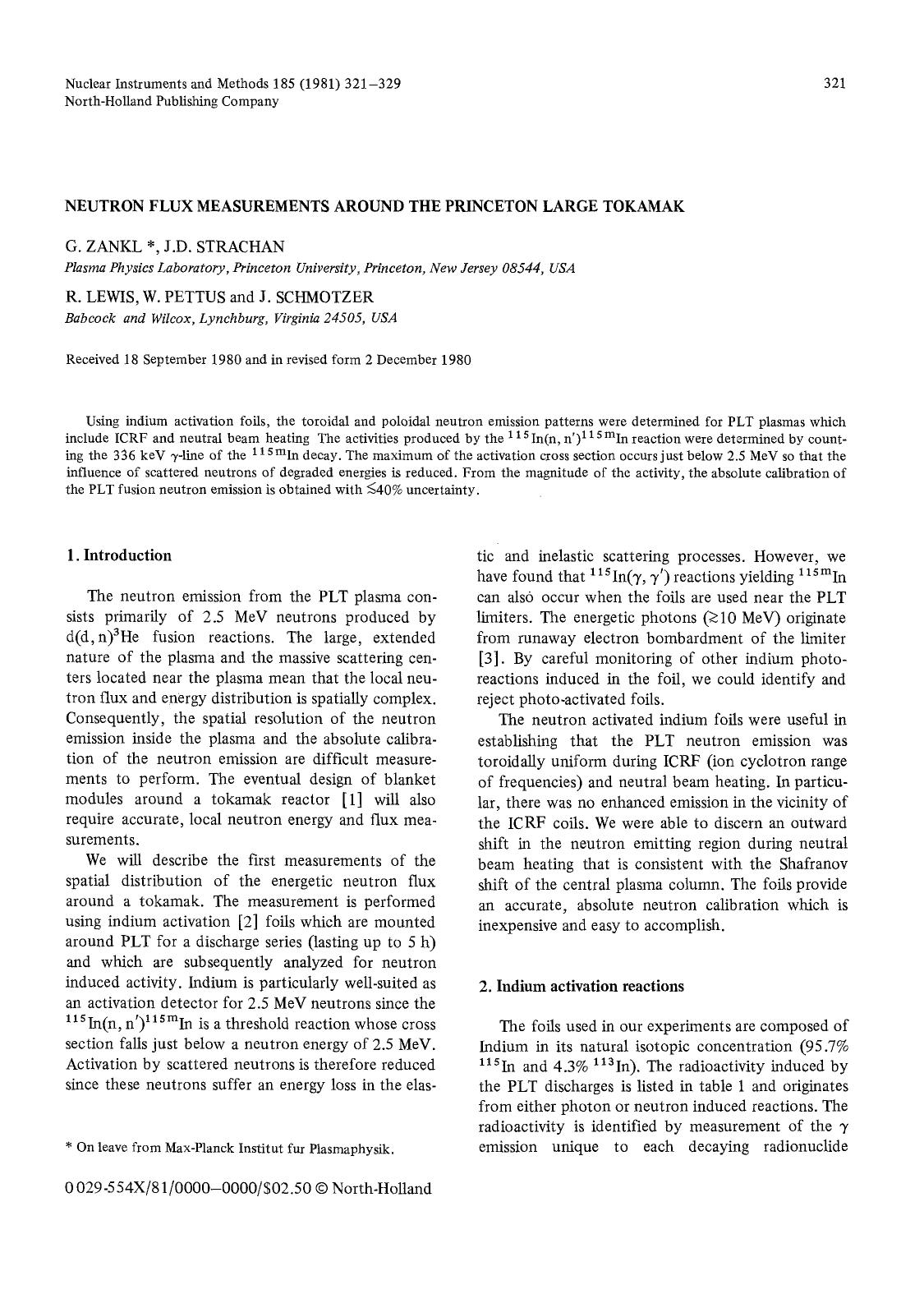غلاف الكتاب Neutron flux measurements around the Princeton large tokamak