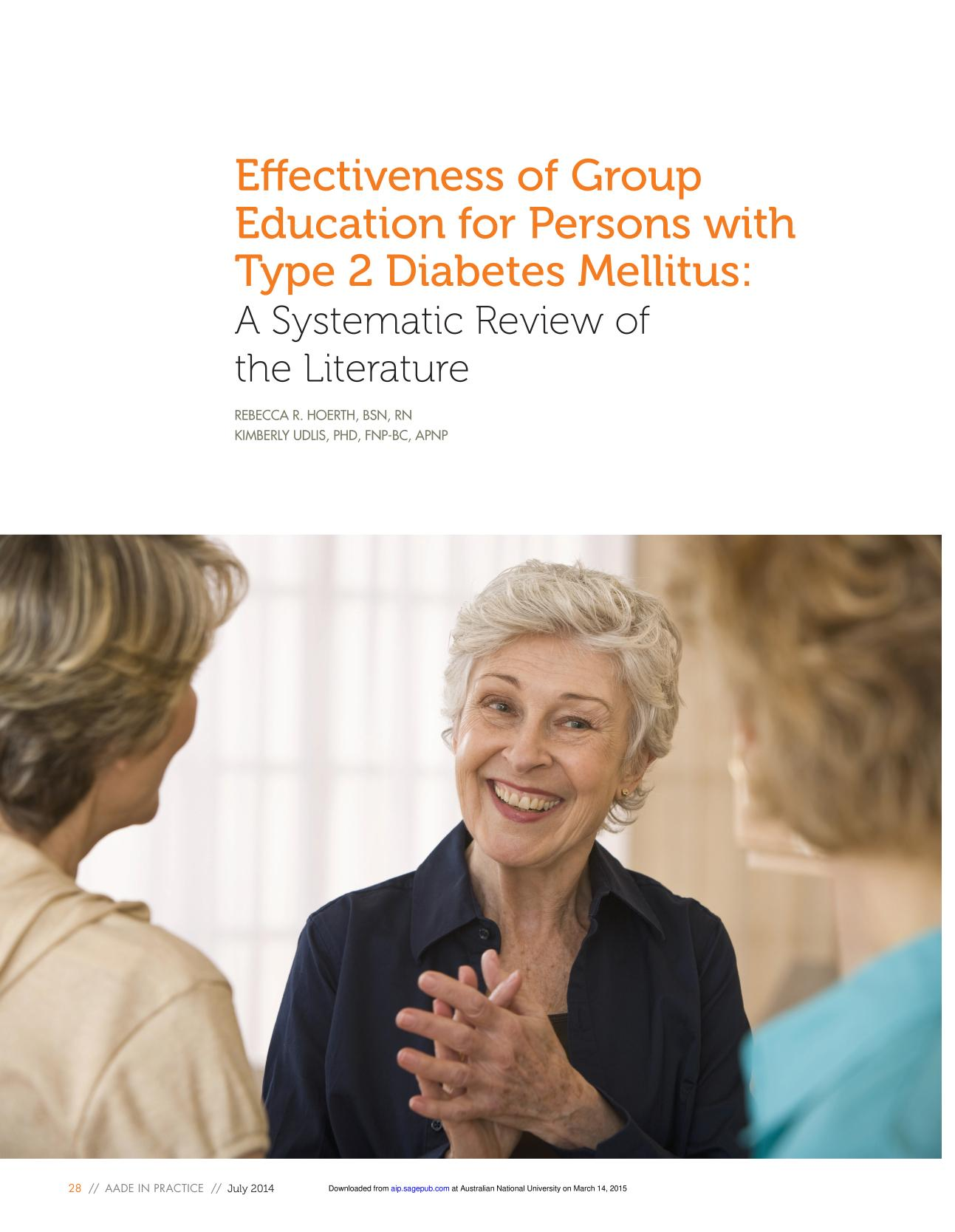 Book cover Effectiveness of Group Education for Persons with Type 2 Diabetes Mellitus: A Systematic Review of the Literature