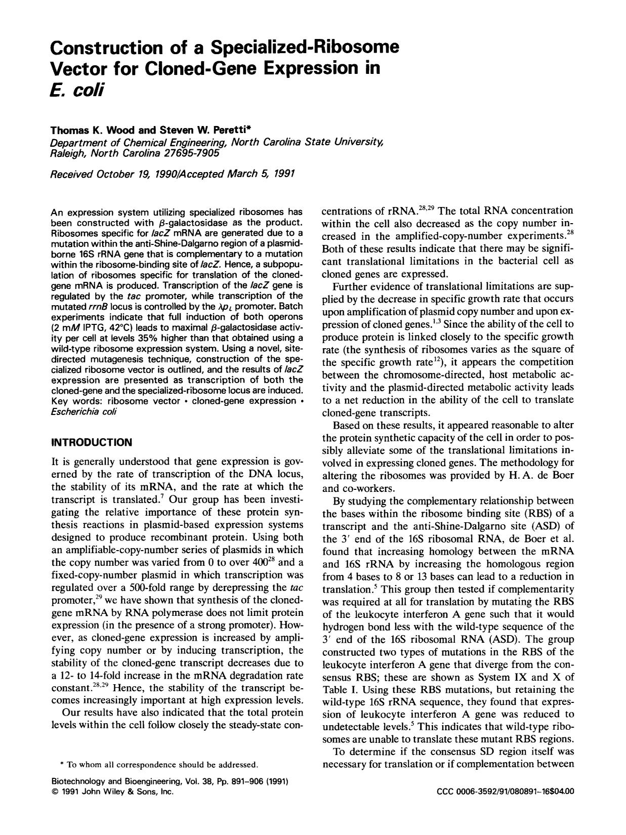Обложка книги Construction of a specialized-ribosome vector or cloned-gene expression in <em>E. coli</em>