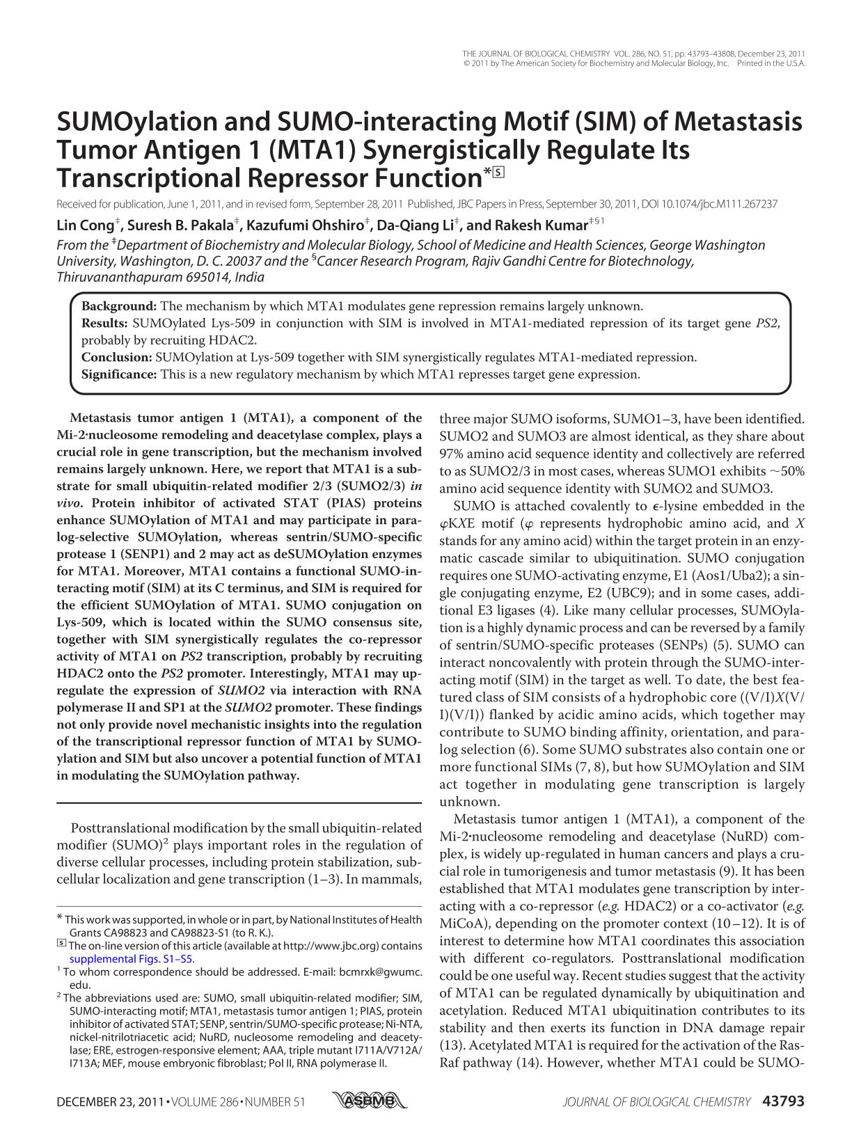 Sampul buku SUMOylation and SUMO-interacting Motif (SIM) of Metastasis Tumor Antigen 1 (MTA1) Synergistically Regulate Its Transcriptional Repressor Function