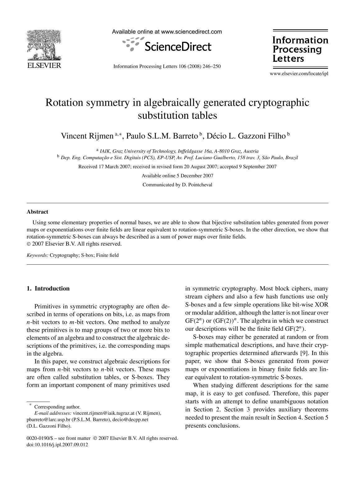 Couverture Rotation symmetry in algebraically generated cryptographic substitution tables