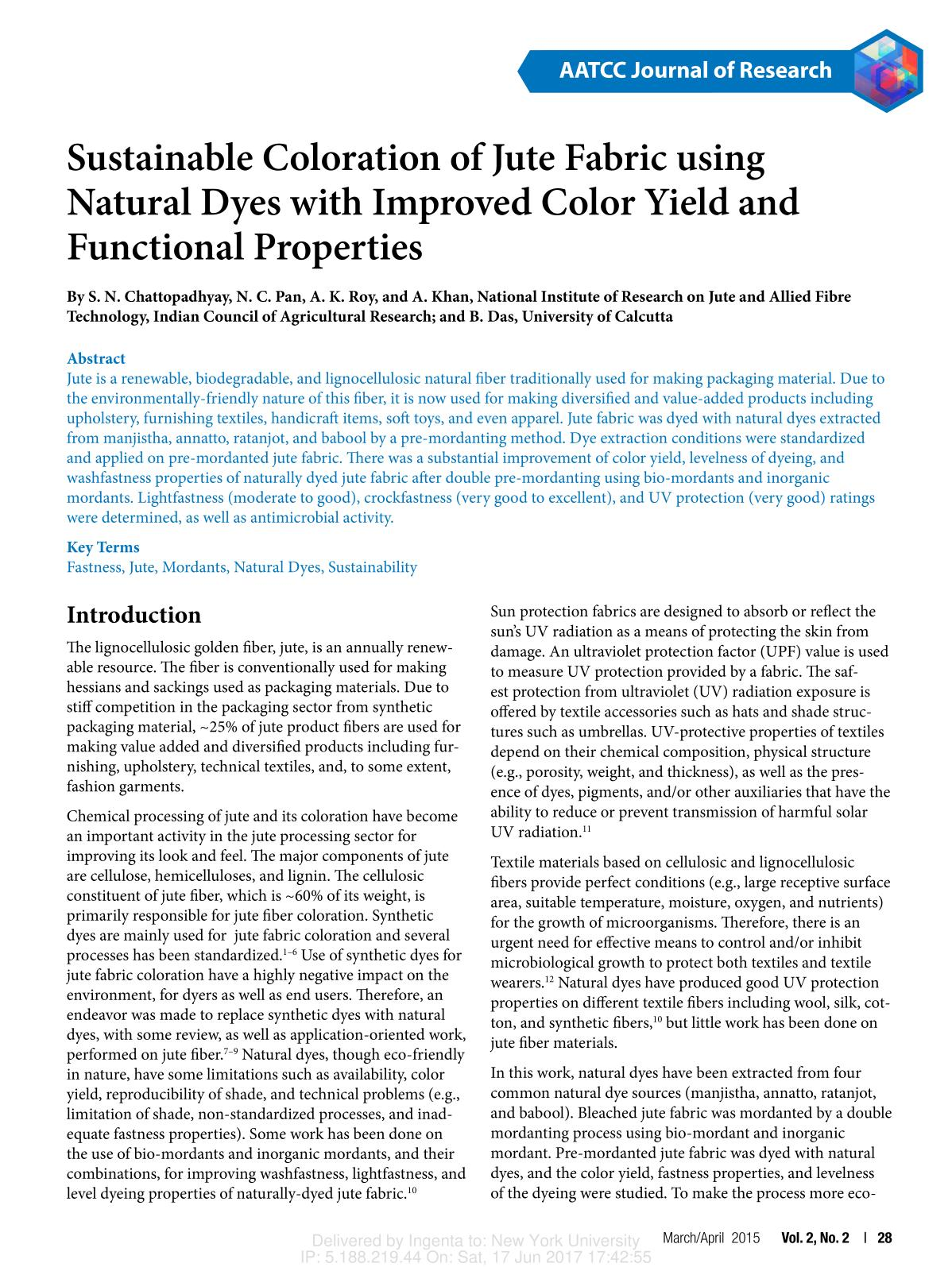 पुस्तक आवरण Sustainable Coloration of Jute Fabric using Natural Dyes with Improved Color Yield and Functional Properties