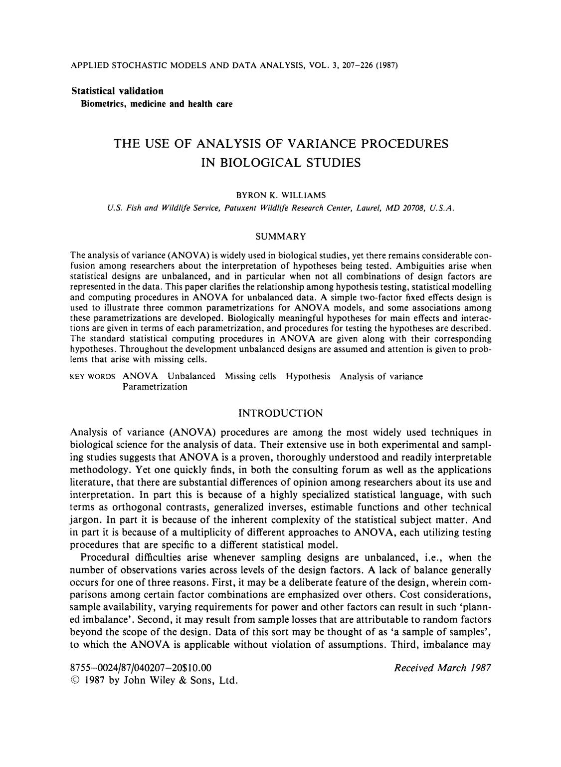 Обкладинка книги The use of analysis of variance procedures in biological studies