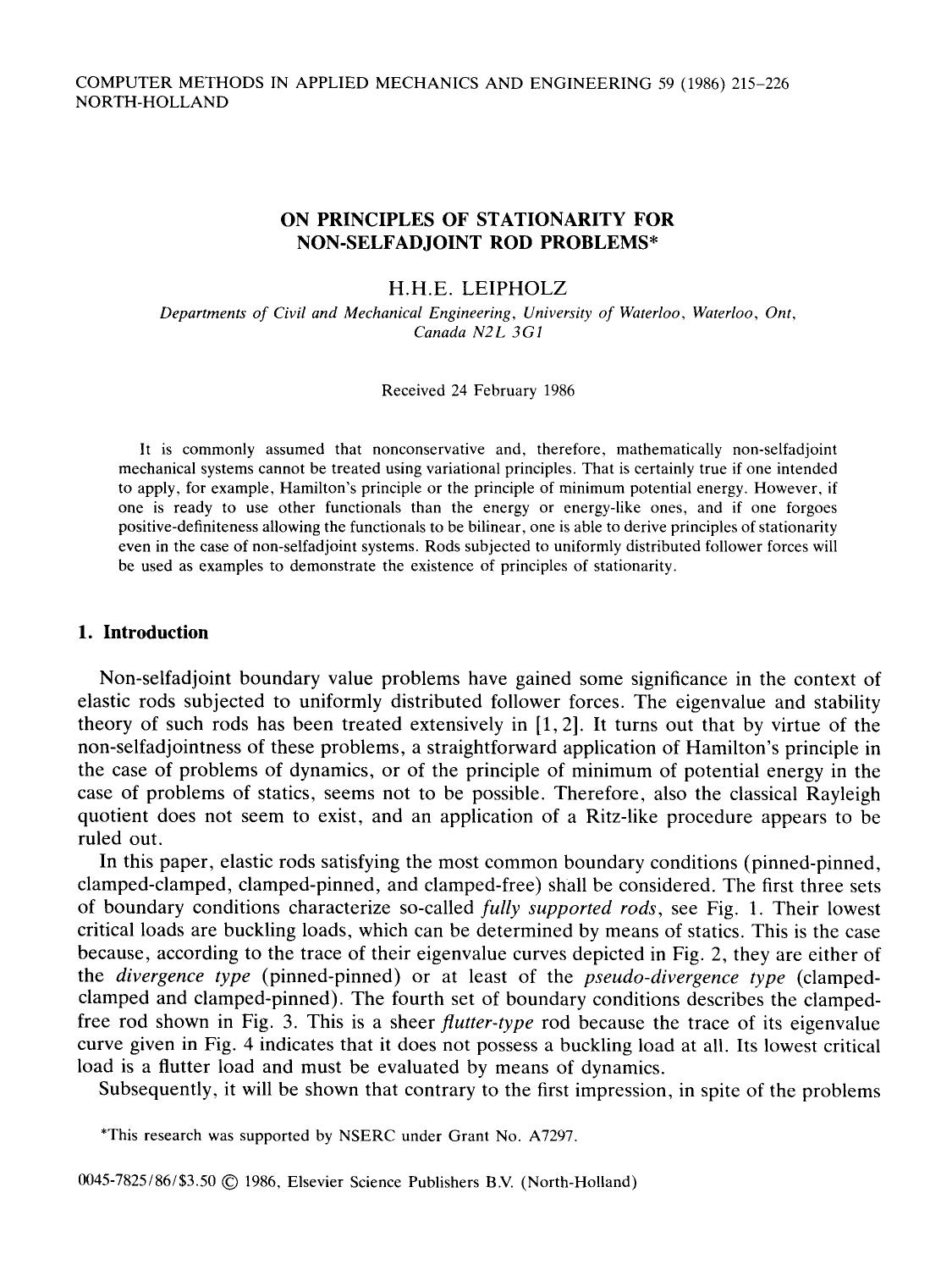 Couverture du livre On principles of stationarity for non-selfadjoint rod problems