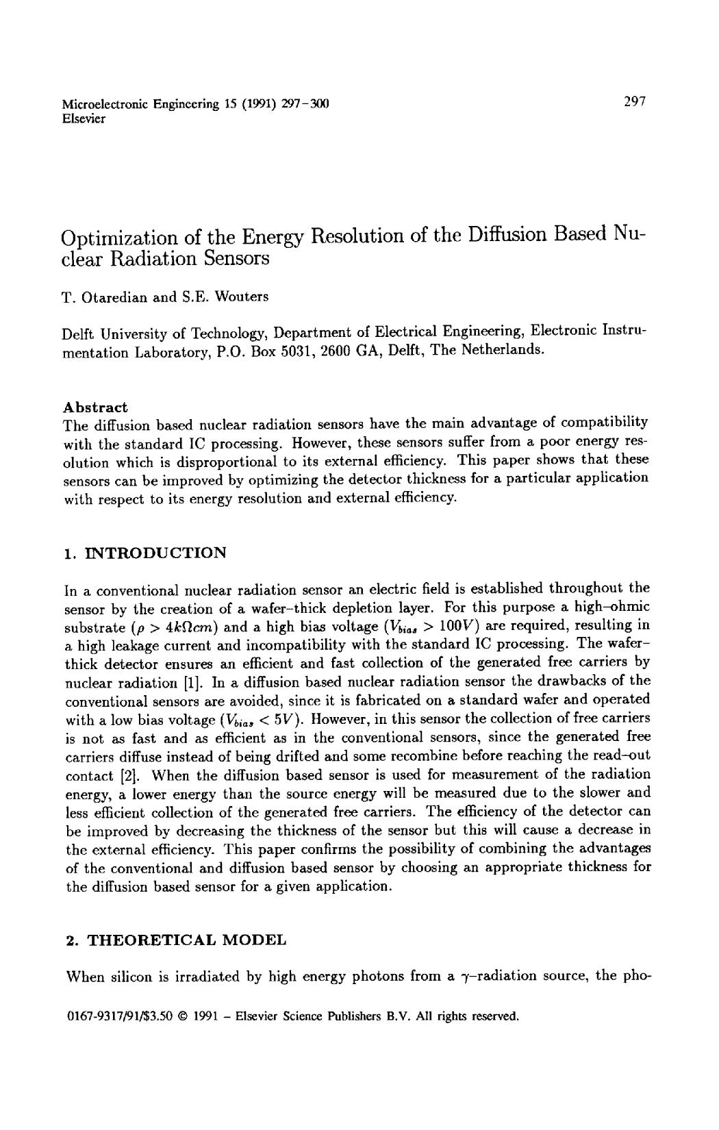 封面 Optimization of the energy resolution of the diffusion based nuclear radiation sensors