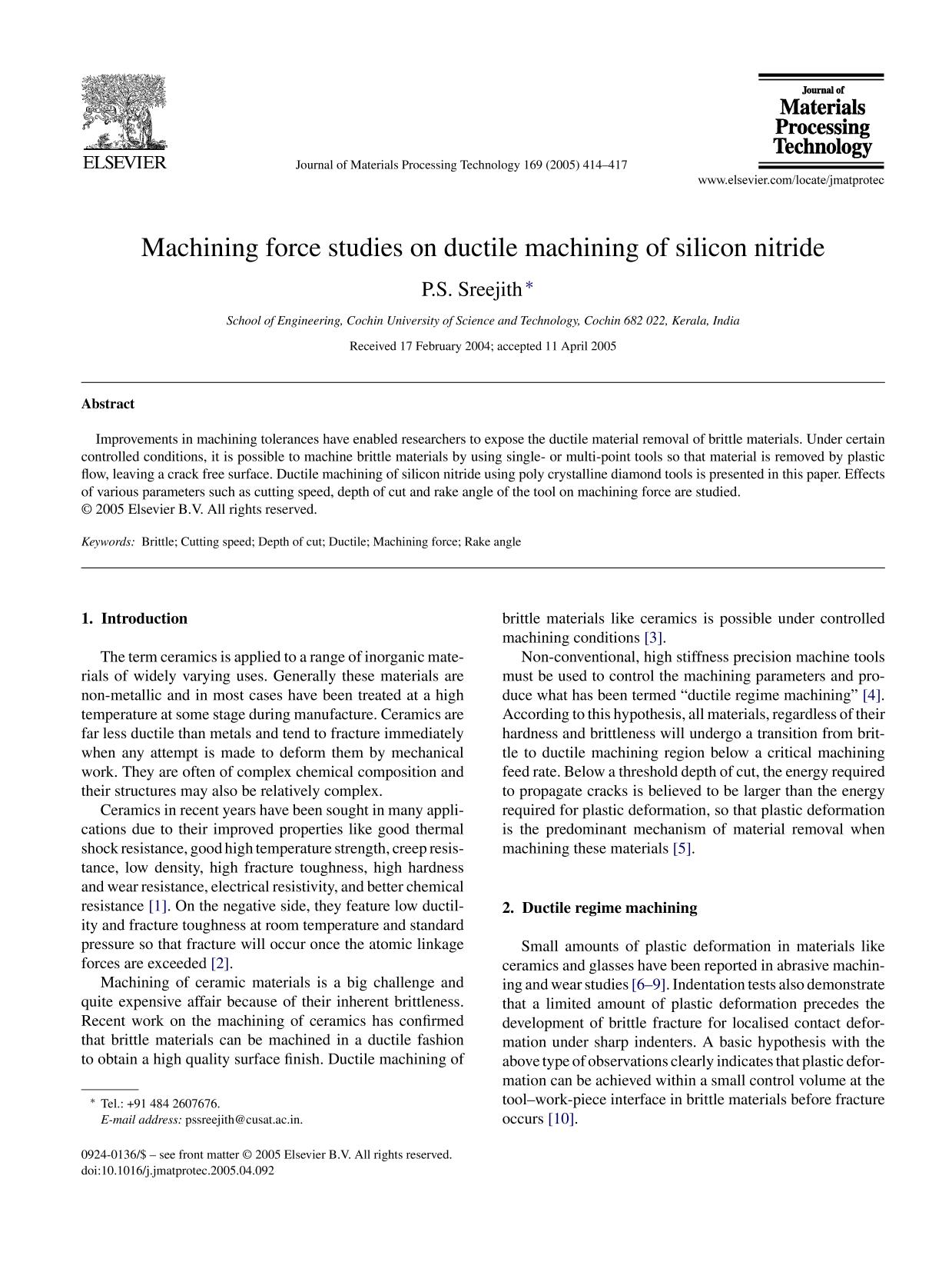 Обложка книги Machining force studies on ductile machining of silicon nitride