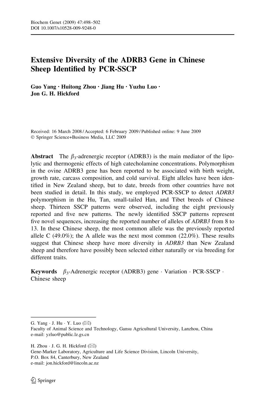 Portada del libro Extensive Diversity of the ADRB3 Gene in Chinese Sheep Identified by PCR-SSCP