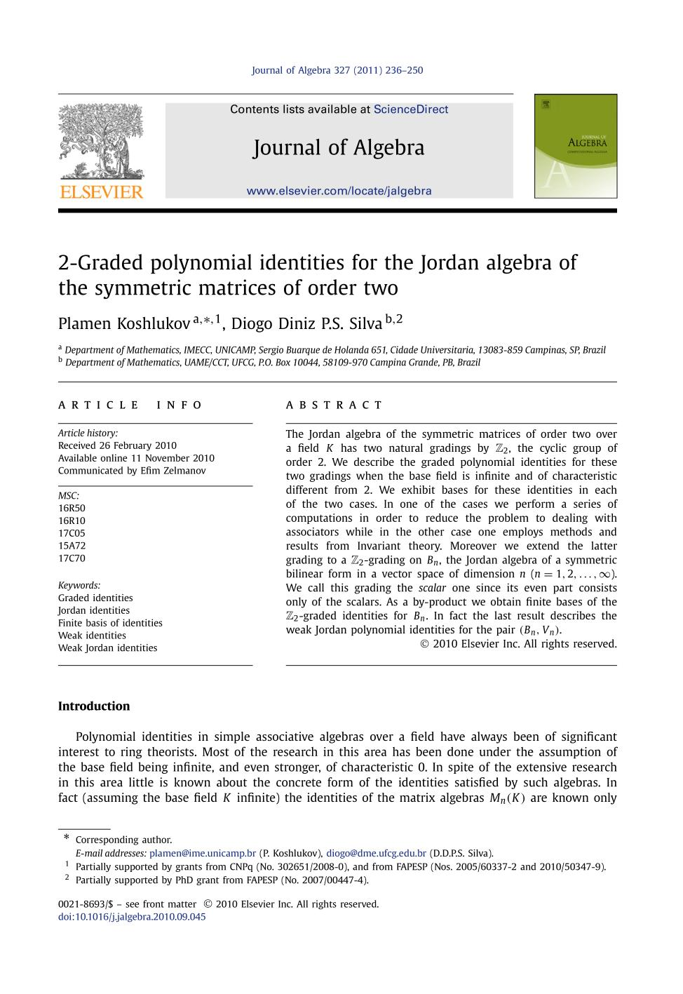 書籍の表紙 2-Graded polynomial identities for the Jordan algebra of the symmetric matrices of order two