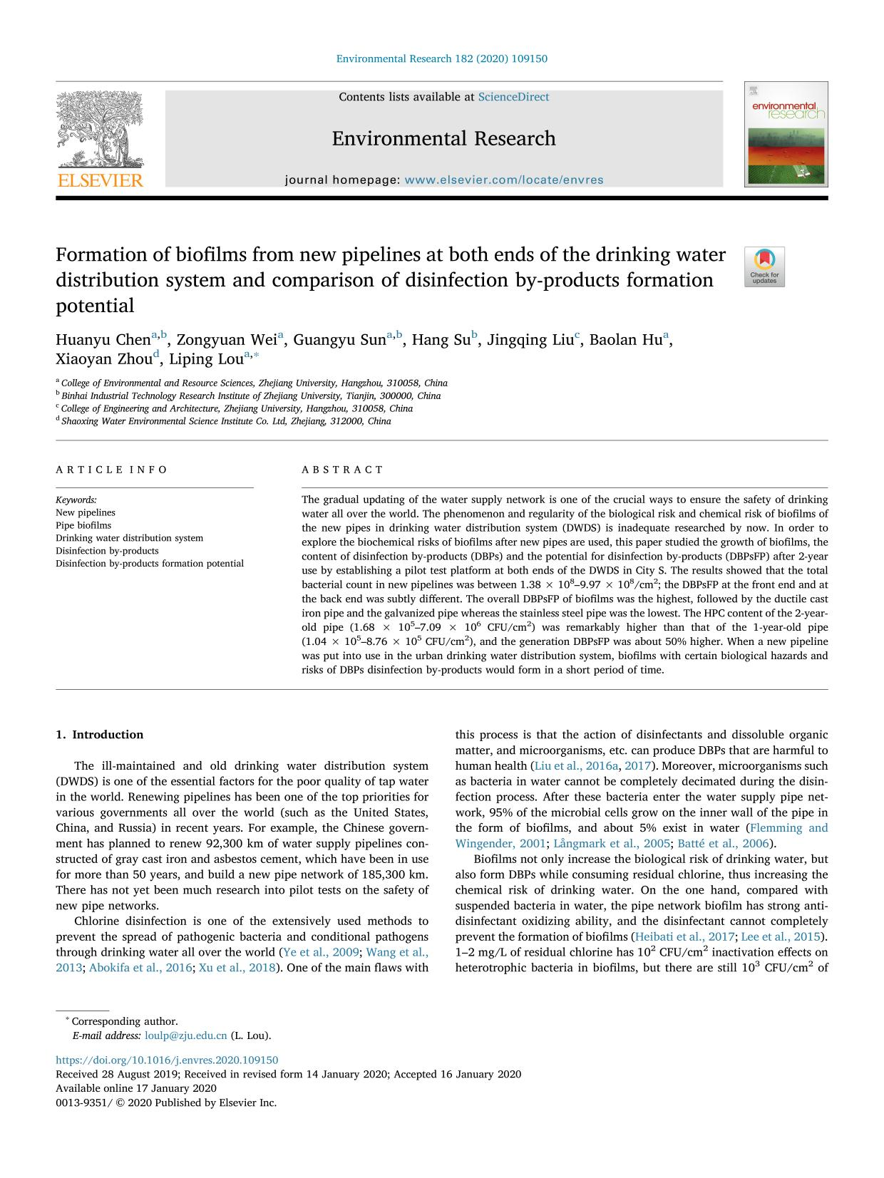 Portada del libro Formation of biofilms from new pipelines at both ends of the drinking water distribution system and comparison of disinfection by-products formation potential