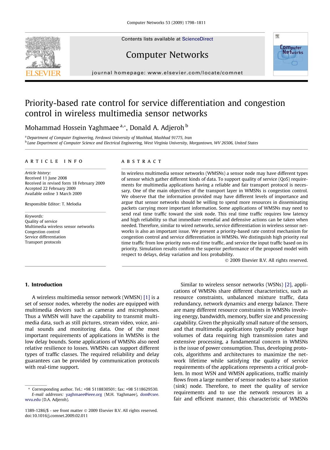 Buchdeckel Priority-based rate control for service differentiation and congestion control in wireless multimedia sensor networks