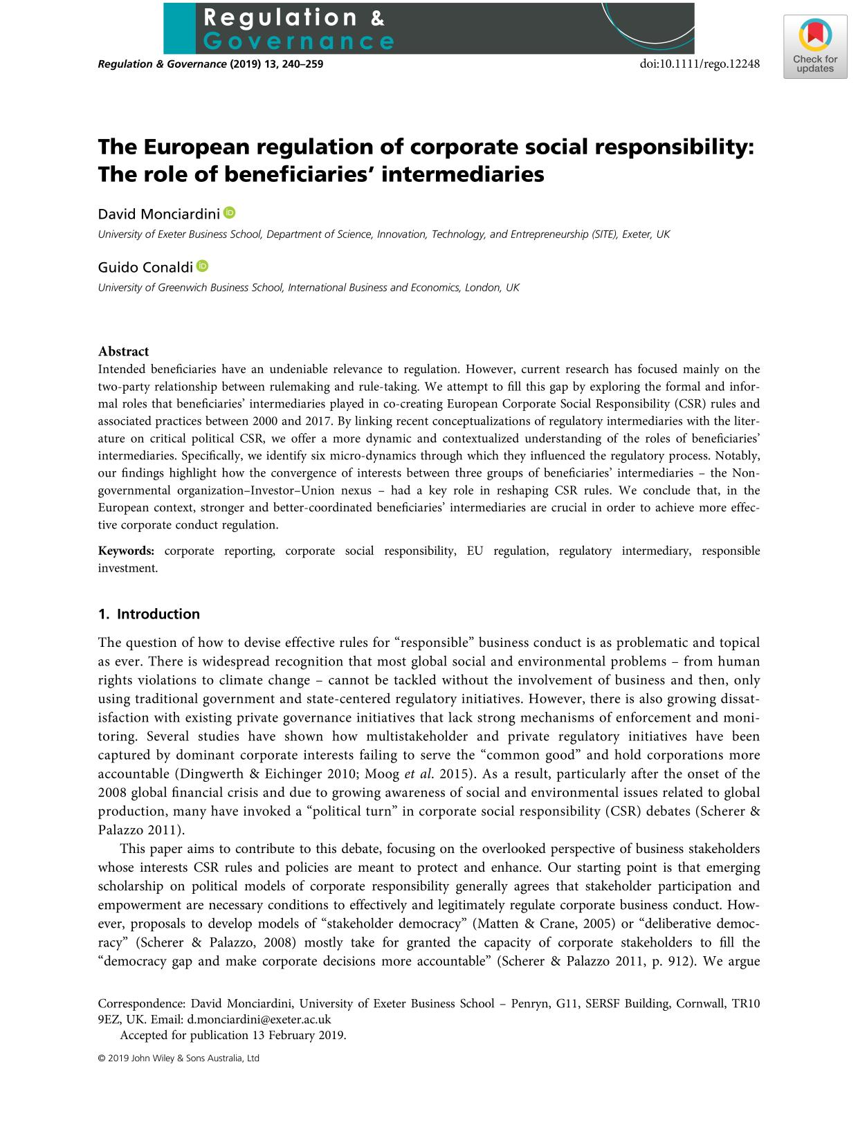 د کتاب پوښ The European regulation of corporate social responsibility: The role of beneficiaries' intermediaries