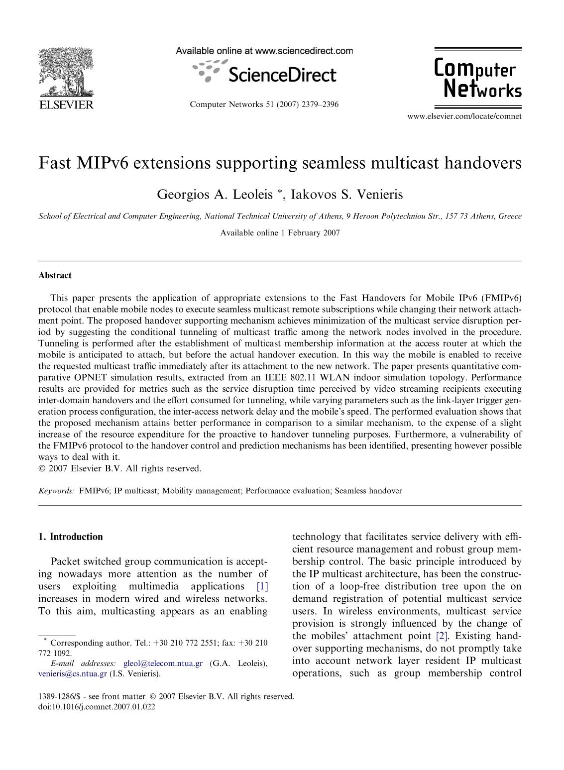 Sampul buku Fast MIPv6 extensions supporting seamless multicast handovers