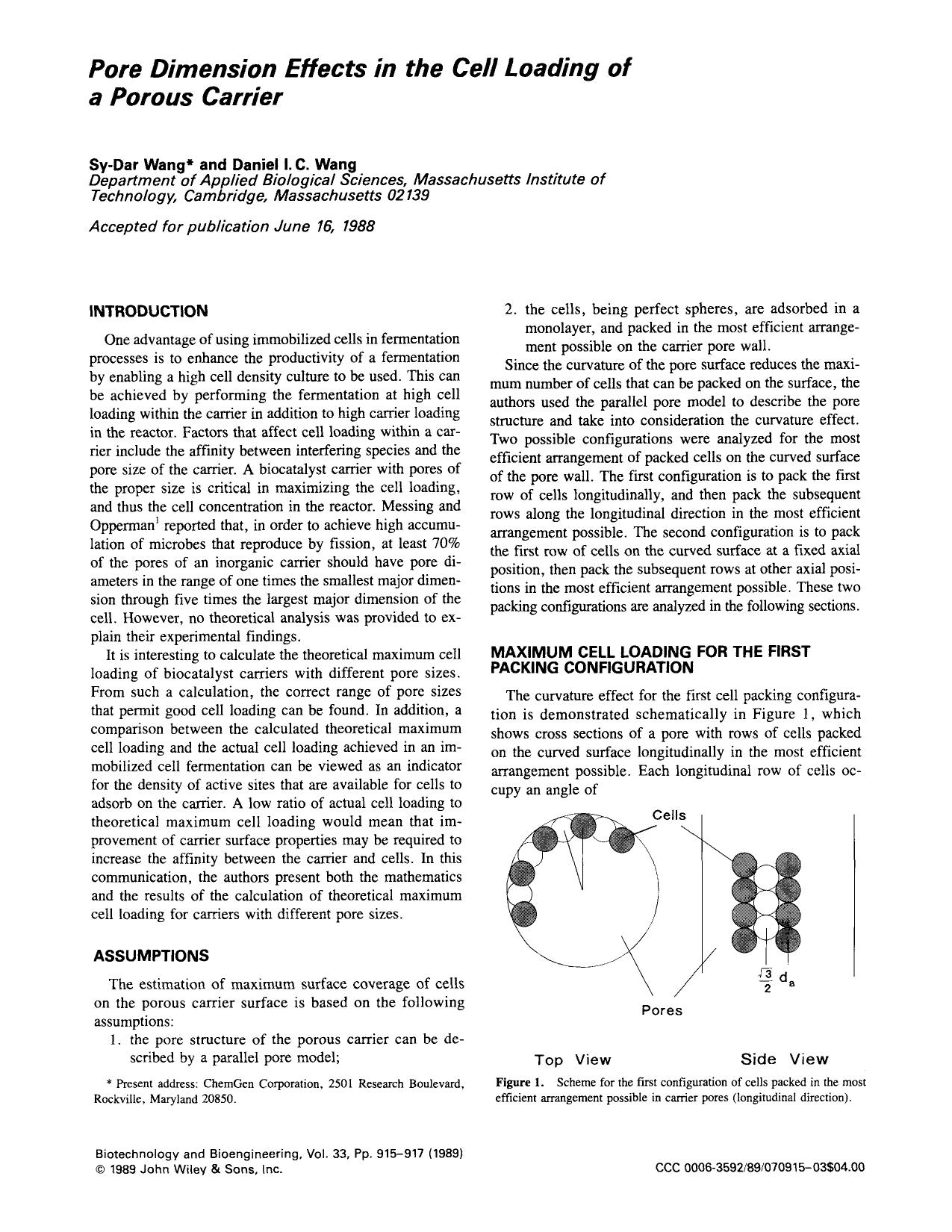 Book cover Pore dimension effects in the cell loading of a porous carrier