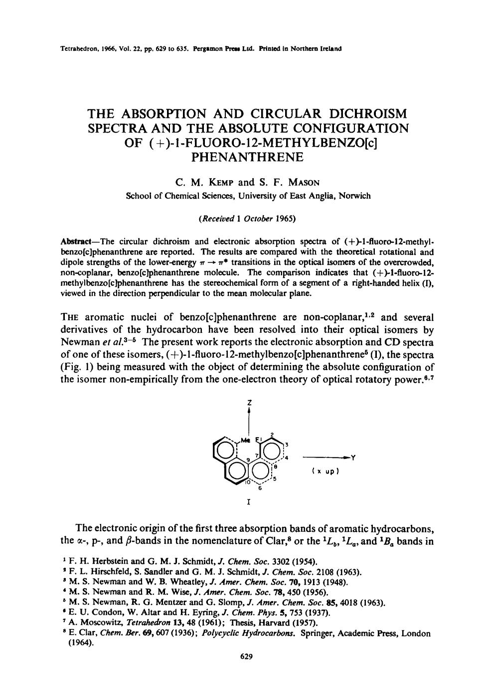 Copertina del libro The absorption and circular dichroism spectra and the absolute configuration of (+)-1-fluoro-12-methylbenzo[c] phenanthrene